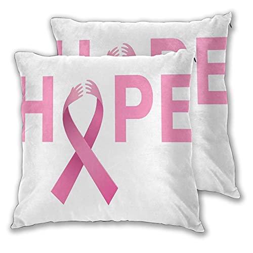 SUDISSKM 2er Set Dekorativ Kissenbezug,Brustkrebs_Logo,Weicher Kissen Fall Dekokissen Kissenhülle für Sofa Auto Schlafzimmer Zuhause Dekor 50X50cm