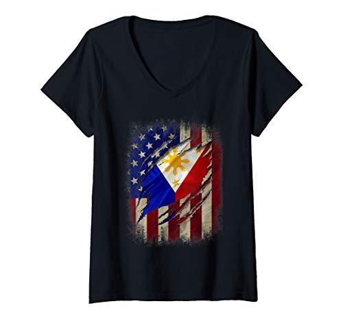 Womens Filipino American Flag Filipino Blood Inside Me Gift V-Neck T-Shirt