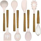 umiten - set di 8 utensili da cucina in silicone, resistente al calore, manici in legno antiaderenti (kaki)