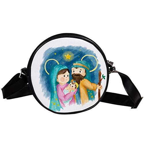 Bandolera redonda pequeña bolsa de mano para señoras de moda bolsos de hombro bolsa de lona bolsa de cintura accesorios para mujeres - Natividad Navidad