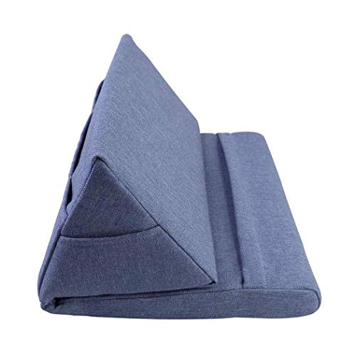 Extended Pillow Pad, Pillow Holder with Build-In Pocket, Soft Pillow Lap Stand for iPads, Tablets, eReaders, Smartphones, Books, Magazines, Laptop (Blue)