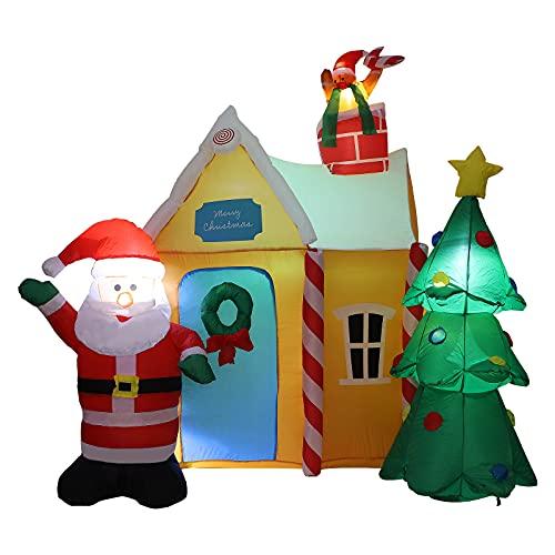 Wivaye - Albero gonfiabile di Natale con Babbo Natale e casa, decorazione per esterni, decorazione per giardino, con luci a LED, ideale per decorazioni natalizie