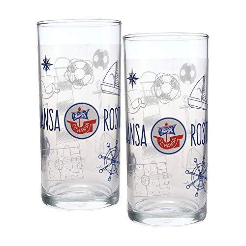Hansa Rostock Kinder Trinkglas Glas 2er Set (one s, Transparent)