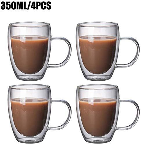 KSTORE 350ml Doppelwandige Gläser - Espressotassen - Latte Macchiato Cappuccino Gläser - Wassergläser mit Henkel, 6-teilig,4 teilig