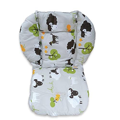High Chair Pad, Amcho Baby Stroller/highchair/car Seat Cushion Protective Film Breathable Pad (Grey Background Sheep Pattern)