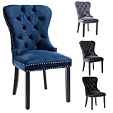 Upholstered Tufted Dining Chairs with Buttoned Wing Back Set of 2, for Dining Room/Kitchen/Living Room (Navy)