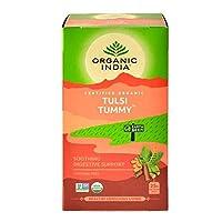 Organic India Tulsi True Wellness Tea Tummy - 18 Tea Bags, Pack of 3 by Organic India