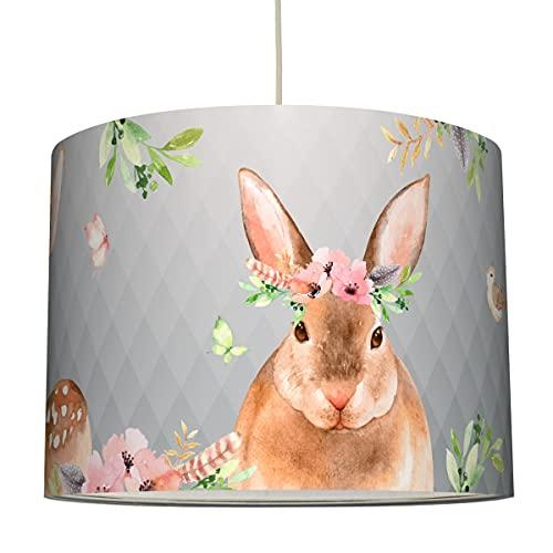 Anna Wand Hängelampe Friendly Forest/GRAU – Lampenschirm für Kinder/Baby Lampe mit liebevollen Waldtieren – Sanftes Kinderzimmer Licht Mädchen & Junge – ø 40 x 30 cm
