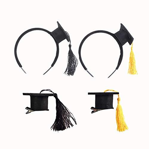 Counius 4Pcs Doktorhut Stirnband Doktorhaube Haarspangen Mini Doctoral Cap Haarband für Kinder Erwachsene Akademiker Hut Haarreif Karneval Graduation Party Kostüm Zubehör(Schwarz+Gelb)