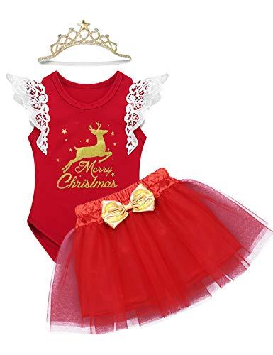 TiaoBug Baby Mädchen Bekleidung Set Langarm Weihnachten Strampler Stirndband Schuhe Beinwärme Weihnachtskostüm Rot Rentier 12-18 Monate