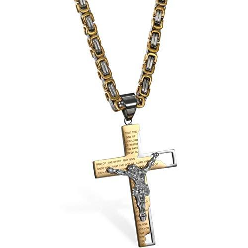 1 Collar con Colgante Cruz Cristo Acero Inoxidable Jesús Cadena 63.5 cm Oro Hombre Mujer