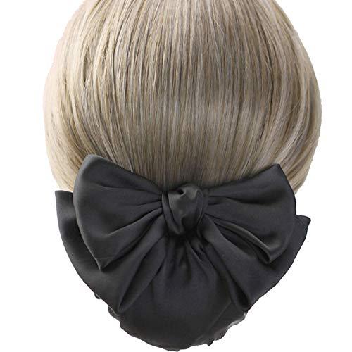 Haarspange für Damen, mit Haarnetz, Haarnetz, Haarnetz, Haarschleife, Haarnetz, Schleife, dekorativ, Schwarz