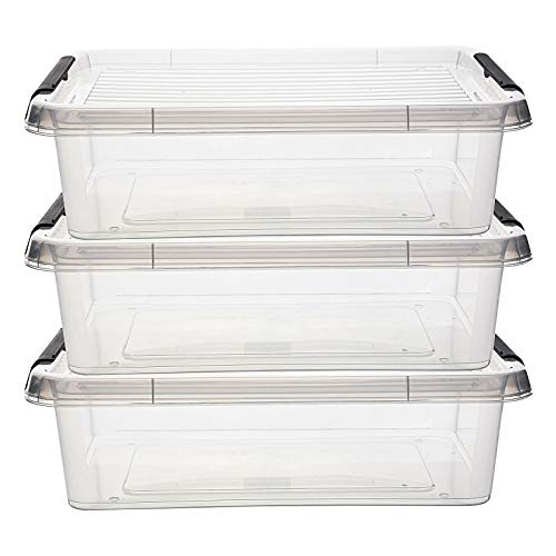 esto24 3er Set Stapelboxen im Set. Transparent mit 4,5 Liter und 8,5 Liter mit Klemmdeckel (8,5 Liter)