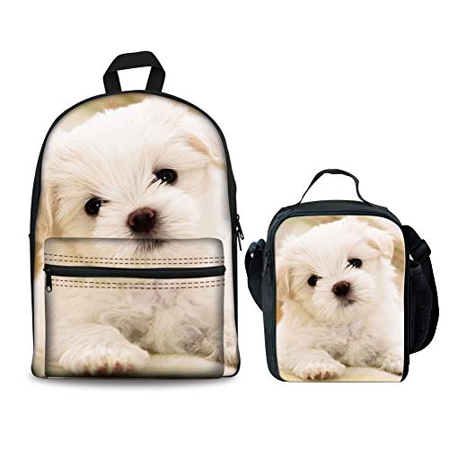 HUGS IDEA Cute Puppy Printed Children School Backpack Set Girls Bookbags and Lunchbox Bichon Frise