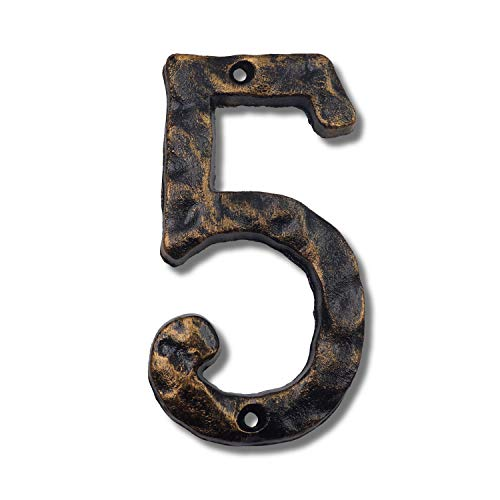 6 Inch House Numbers- Rustic Cast Iron Home Address Number- Featuring Unique Hammered Appearance with Uneven Antique Brass Finished, Number 5