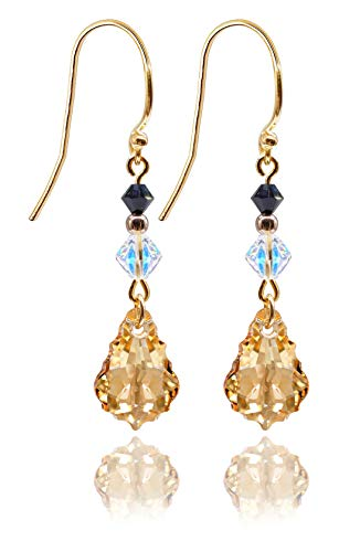 GIFT BOXED! Ah! Jewellery Golden Shadow Baroque and Xilion Crystals From Swarovski Drop Earrings, 24K Gold Vermeil Over Sterling Silver, Stamped 925