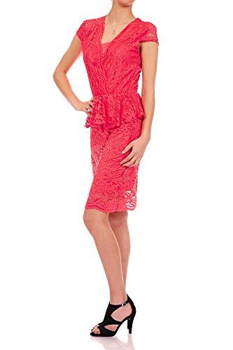 Laeticia Dreams–Vestito da donna in pizzo, manica corta, lunghezza al ginocchio, con baschina, taglie S M L XL Koralle 44