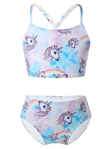 Aislor Traje de Baño para Niñas 2 Pcs Bañador Unicornios Conjunto de Bikini Tirante...
