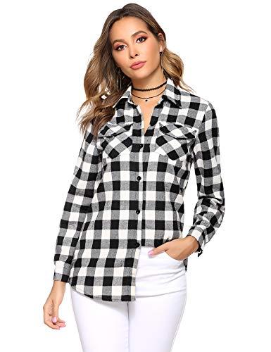 Abollria Camisa de Cuadros para Mujer Blusa Franela Manga Larga Oficina Camisetas con Botones Básico Shirt Casual Estilo de Boyfriend Suelto Tops para Otoño Invierno