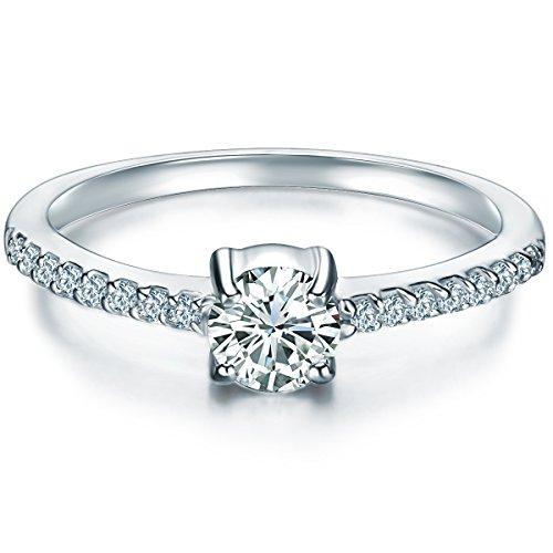 Tresor 1934 Damen-Ring Sterling Silber Zirkonia weiß im Brillantschliff - Verlobungsring Silberring Damen mit Stein Antragsring