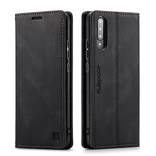 LOLFZ Hülle für Samsung Galaxy A70, Vintage Dünne Leder Handyhülle mit RFID Schutz Kartenfach Ständer Magnetische Flip Schutzhülle Kompatibel mit Galaxy A70 - Schwarz