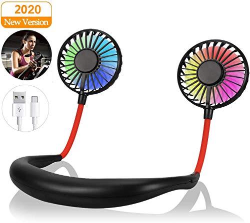 Yobenki Portable Fan Neck Fan Hands Free Personal Fan with LED Light Mini Fan Rechargeable USB Fan 360 Degree Free Rotation Wearable Neckband Fan for Outdoor Home Office Sports Traveling (Black)