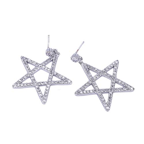 YAZILIND personalidad pendientes hueco estrella pentagrama forma colgante cúbica Zirconia Stud pendiente fiesta joyería