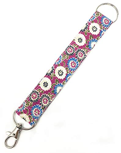 Fabric Pattern Wristlet Key Fob Key Chain with Split Ring and Clasp (Purple)