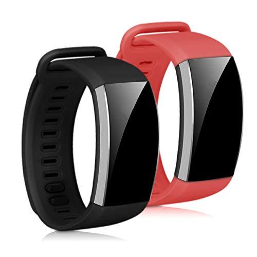 kwmobile 2X Pulsera Compatible con Huawei Band 2 / Band 2 Pro - Brazalete de Silicona Burdeos/Negro sin Fitness Tracker