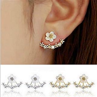 sandywident Korean Jewelry 2016 New Zircon Crystal Front Back Double Sided Stud Earrings for Women Fashion Ear Jacket Piercing Earing Koyle(Gold)
