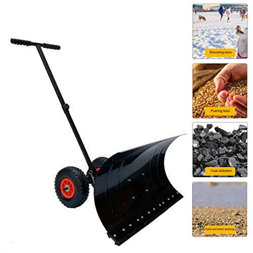 """HOTSTORE Strain-Reducing Snow Shovel, Heavy Duty Snow Shovel, Rolling Adjustable Snow Pusher with Rubber Wheels 10"""" Dia Efficient Snow Plow for Driveway or Pavement Clearing (29"""" x 13"""")"""