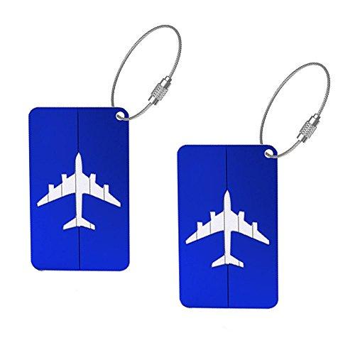 Nikgic 2 Set Luggage Tags,Luggage Label Travel Luggage Tag Pendant Multicolor Pendant Aluminium Case (Blue)