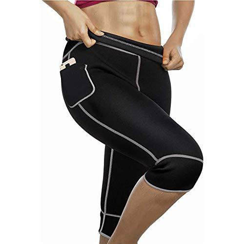 Pantalones de Neopreno Adelgazantes para Pérdida de Peso de Sauna para Mujer con Bolsillo Lateral Leggings para El Sudor Entrenamiento Thermo Fat Burning Body Shaper (Color : A, Size : L)