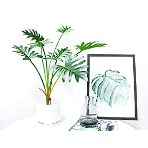 Artificial Green Palm Plant Philodendron Selloum Leaves Silk Fern Leaves for Home Decoration