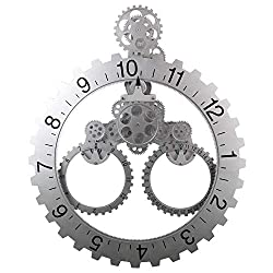 Gear Wall Clock with Moving Gears, Smart 3D Steampunk, 23x6x23 in, Noiseless, Decorative with Premium Plastic Moving Clock for Office, Home, Kitchen, Bar, Modern Living Room Decor (Silver Sawtooth)