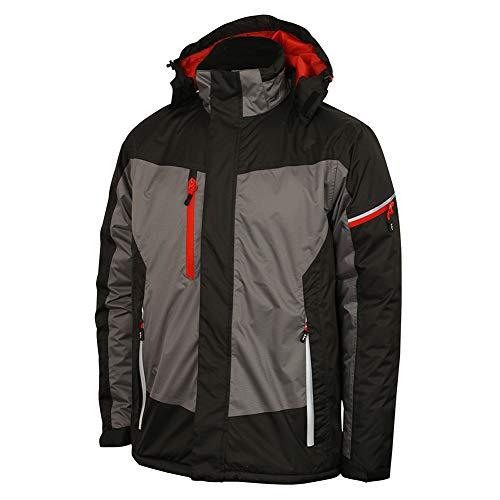 Lee Cooper Workwear - Chaqueta de trabajo impermeable y transpirable para hombre con detalles reflectantes, L, negro/gris, 1