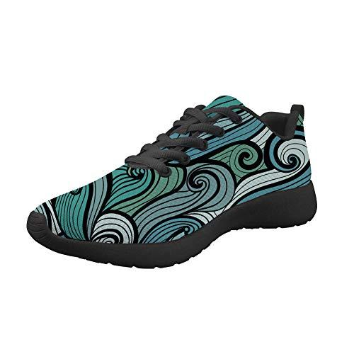 Amzbeauty Zapatillas de deporte para mujer, de malla, transpirables, ligeras, absorbentes, cómodas, antideslizantes, para caminar, deportivas, para caminar, diseño de Navidad, color Verde, talla 36 EU