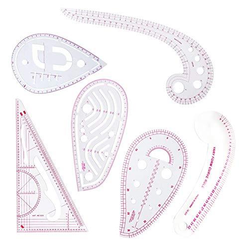 Regla de costura,6 tipos de costura,regla con forma de curva francesa,regla de graduación de patrones para diseñador,máquina de patrones y sastres,regla de corte multiusos para costura