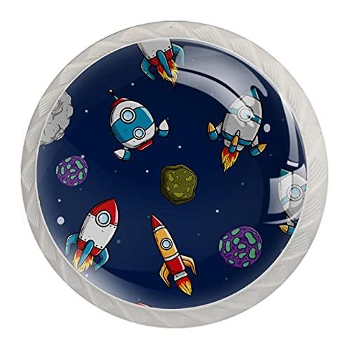 Tiradores para Muebles Niños Asteroide nave espacial Pomo para muebles Blanco Pomos y Tiradores impresión Manija del cajón Para Habitación Infantil 4 piezas 3.5×2.8CM