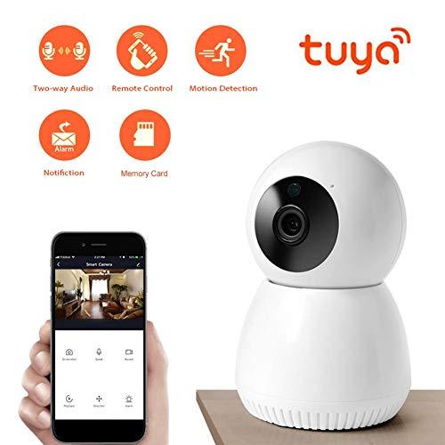 WiFi Home Security Camera, WiFi 1080P HD Draadloze bewakingscamera Ondersteuning 2-weg intercom + Nachtzicht + APP-bediening + PIR Bewegingsdetectie Home Security IP-camera (EU)