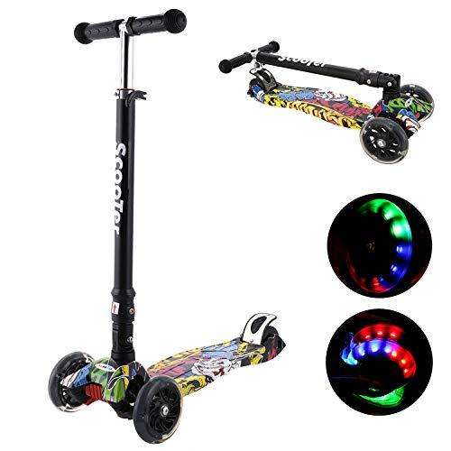 Kinder Roller Scooter 3 Räder Höhenverstellbarer Kinderroller mit LED Leuchträdern Rollen und Verstellbare Lenker für Kleinkinder, Mädchen oder Jungen ab 3 Jahren (Farbe 1)