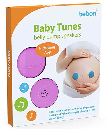 Baby-Bump Headphones - Plays and Shares Music, Sound and Voices to The Womb - Premium Baby Bump Speaker System - Including bebon Tunes APP (iOS and Android) (Purple)