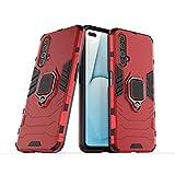 FanTing Realme X3 SuperZoom Cover,Hybrid Dual Layer TPU+PC Custodia, Durevole Manicotto Protettivo Antiurto,con Supporto per Cellulare,per Realme X3 SuperZoom-Rosso