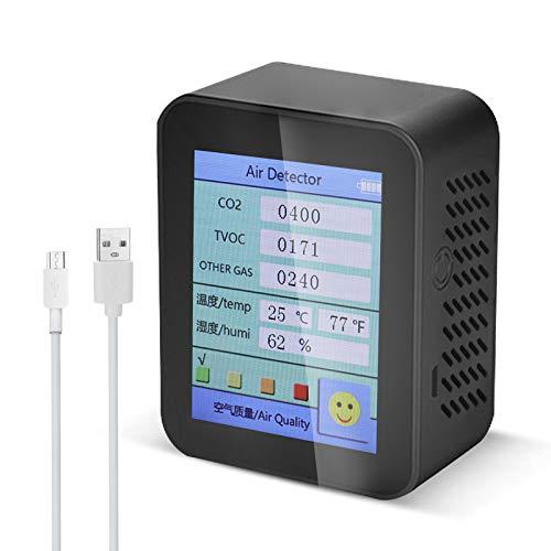Katerk Detector de dióxido de carbono con pantalla de humedad de temperatura, medidor de CO2 para detector de calidad del aire (negro)