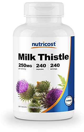 Nutricost Milk Thistle 250mg, 240 Vegetarian Capsules - 4:1 Extract - 1,000mg Equivelent, Non-GMO and Gluten Free
