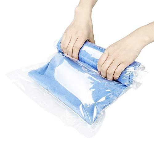 Qisiewell 10 Stück Reise Vakuumbeutel Rollen per Hand Aufbewahrungsbeutel für Reise und Kleidung Decken Handtücher Keine Pumpe benötigt