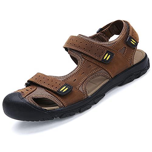 KJHKT Sandalias de hombre de cuero de senderismo sandalias atléticas caminar deportes pescador playa zapatos cerrados dedo del pie sandalias de agua verano al aire libre impermeable sandalias