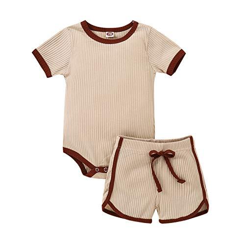 Säugling Neugeborenes Baby Mädchen Junge Solide Strampler Tops Kurze Hose Hose Beiläufig Outfits einstellen A459
