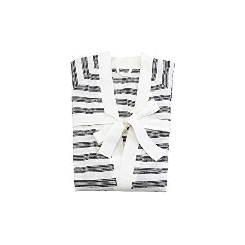 Meraki Hammam-Albornoz (Talla Grande/XL), diseño de Rayas, Color Blanco y Negro