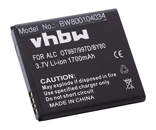 vhbw Akku Ersatz für Alcatel TLiB5AF für Handy Smartphone Handy (1700mAh, 3,7V, Li-Ion)